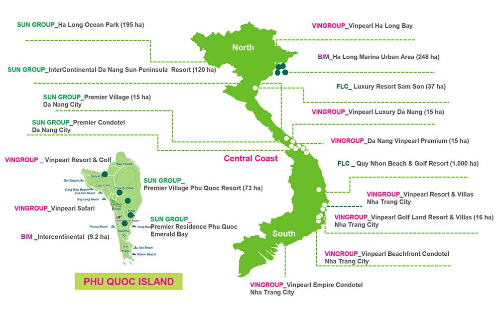 Số liệu về toàn cảnh phát triển các dự án nghỉ dưỡng Việt Nam và đặc khu kinh tế Phú Quốc.